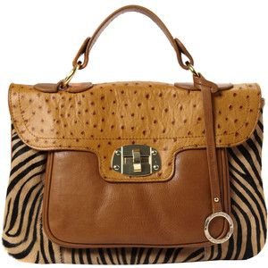 Edina Ronay Tan Leather Animal Print Satchel Style Bag