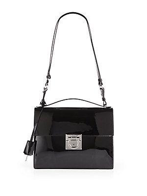 90599904de28 Salvatore Ferragamo Marisol Patent Leather Shoulder Bag