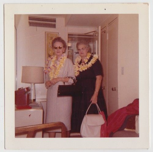Vintage 60s Square PHOTO Pair Mature WOMEN Wearing LEIS Hawaiian Vacation great luggage ladies