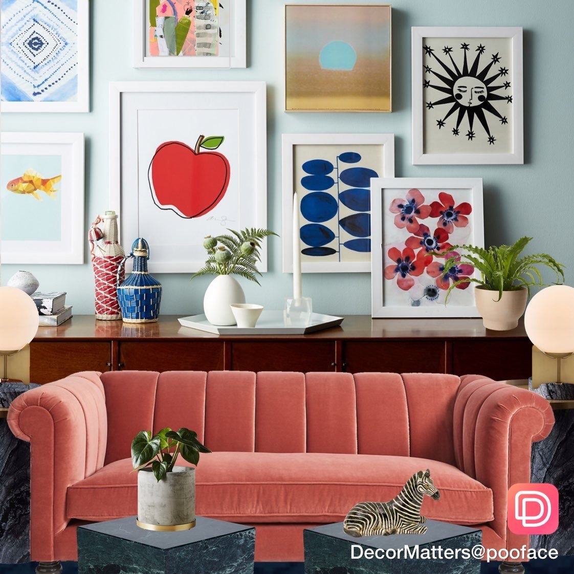 Eclectic Living Room Inspiration With Art Gallery And Red Sof