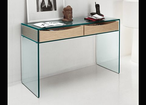 Gulliver Clear Glass Desk\/Console Table Glass Tables Tonelli
