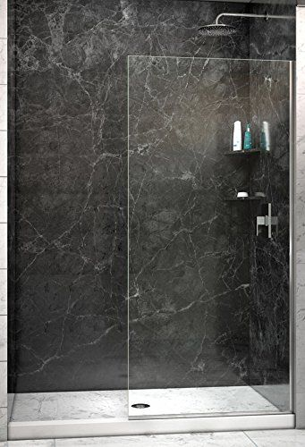 Dreamline Shdr 3234721 04 Linea Frameless Shower Door With Open Entry Design 34 X 72 Brushed Nickel Finish