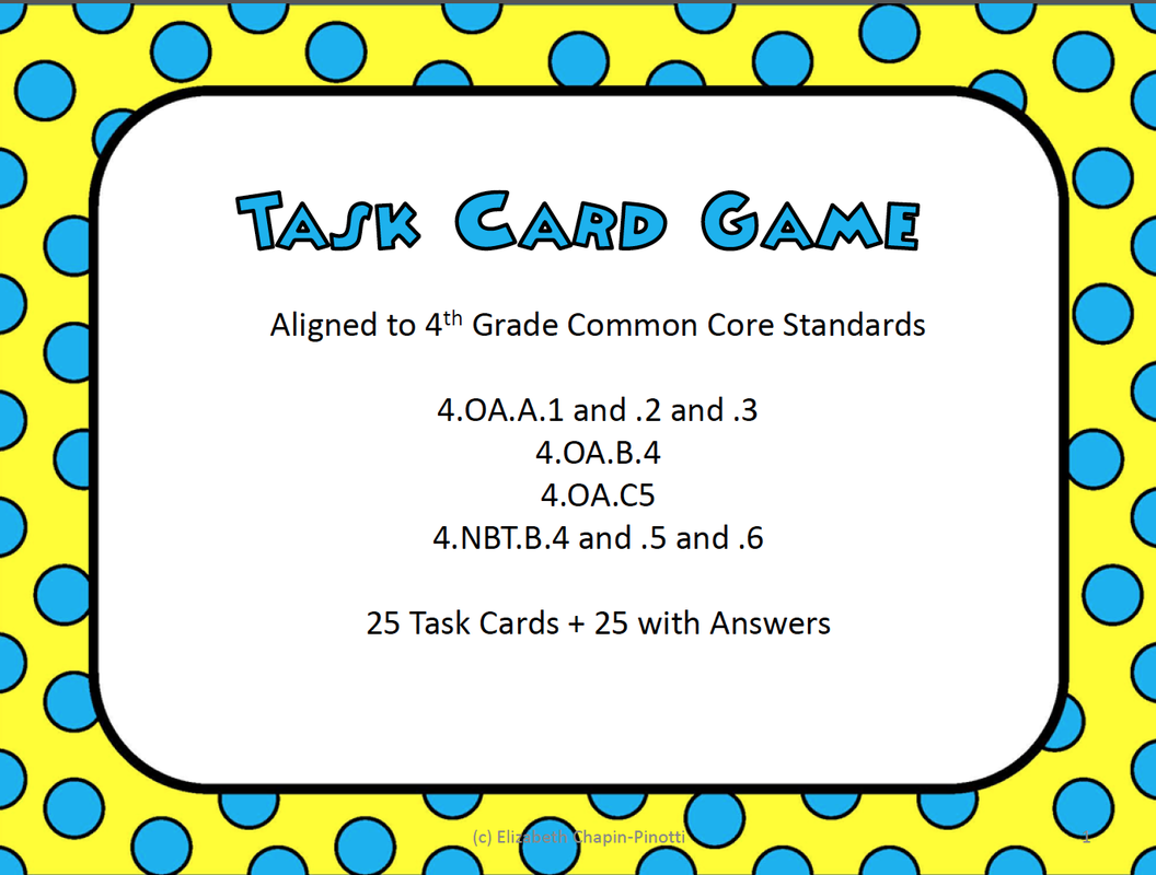 Free Free Fourth Grade Math Task Cards Common Core