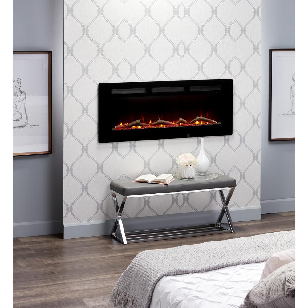 C3 Sierra 48 In Wall Built In Linear Electric Fireplace In Black