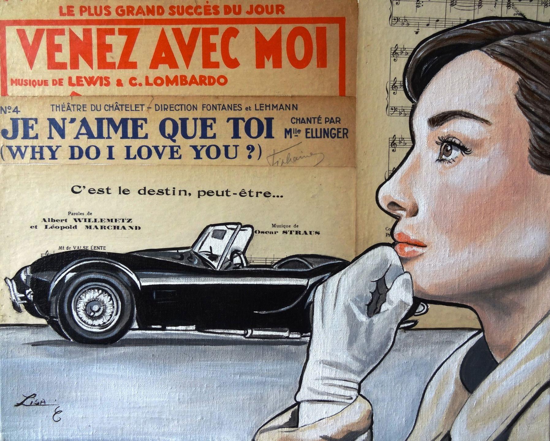 Tableau :Audrey (Acrylique sur toile et collage journaux anciens ) : Peintures par monartlisa