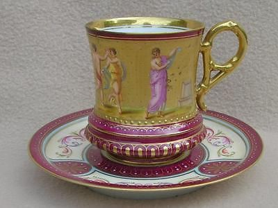 ANTIQUE ROYAL VIENNA PORCELAIN CUP & SAUCER HAND PANTED BY K.WEH NEOCLASSICAL ST