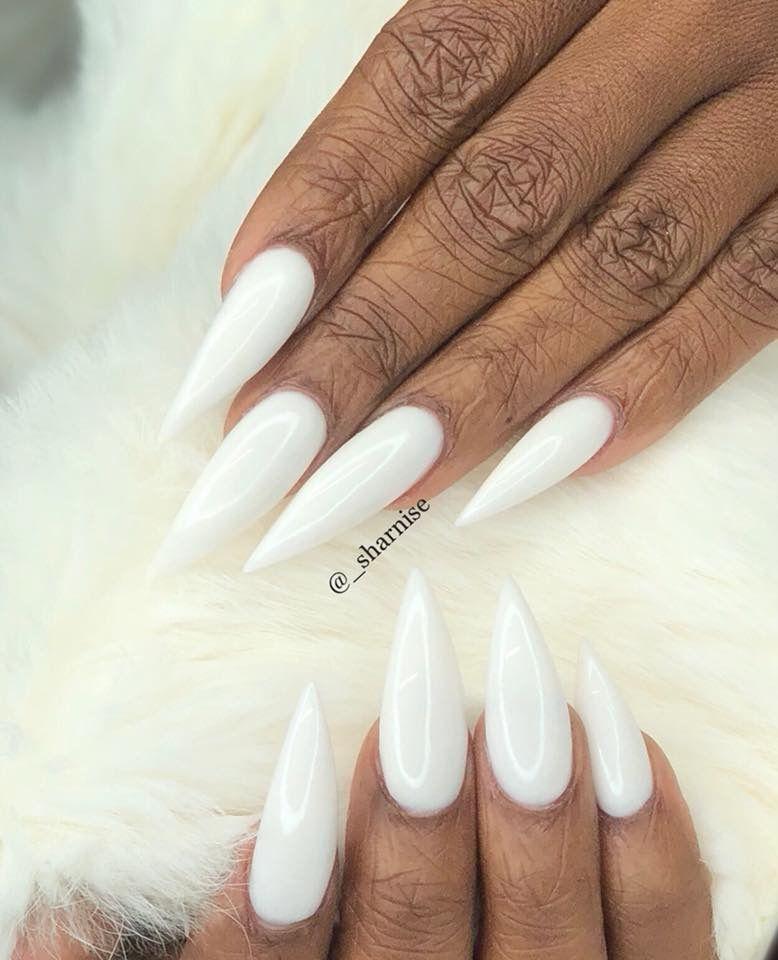 White Stiletto Nails With Images White Stiletto Nails