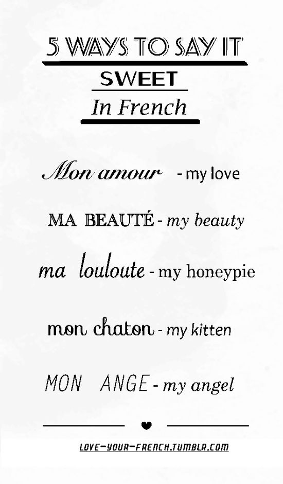 Ways To Your Love In French