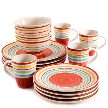 Gibson Home Monterey Stripes 16-Piece Dinnerware Set - Walmart.com  sc 1 st  Pinterest & Gibson Home Monterey Stripes 16-Piece Dinnerware Set - Walmart.com ...