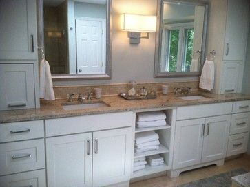 White Cabinets Tan Granite Tan Tile Floor Traditional Bathroom Custom Bath White Cabinets