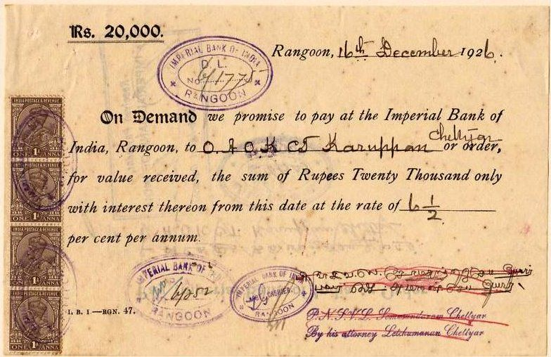 A 1926 Promissory Note from the Imperial Bank of India, Rangoon - promissory notes