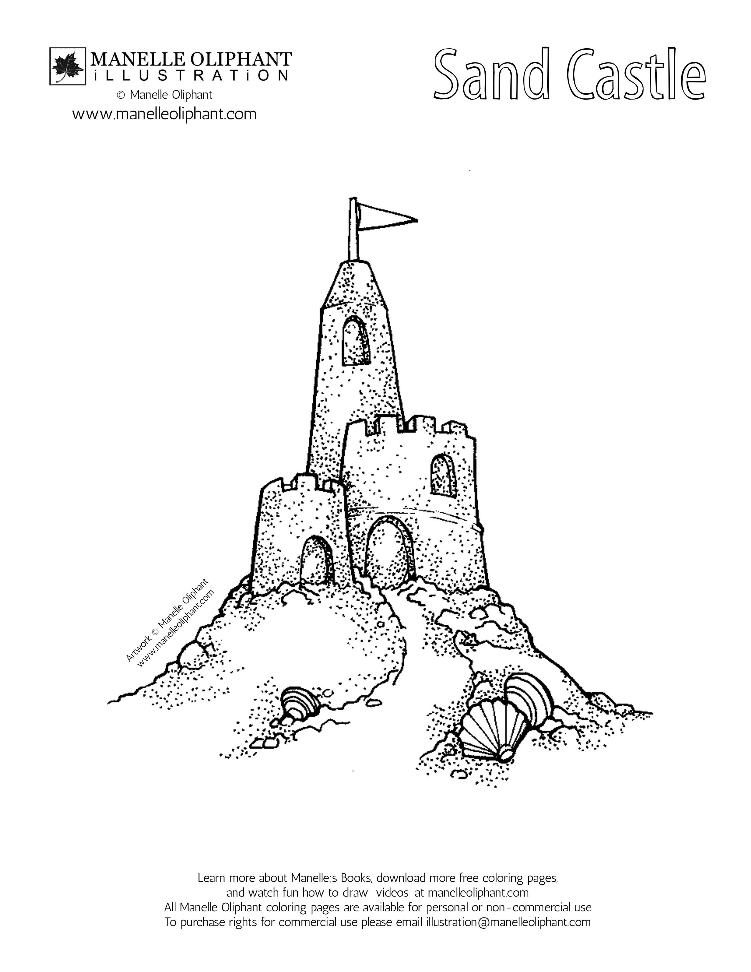 Summer Sandcastle Coloring Page Ocean Coloring Pages Castle Tattoo Sand Castle