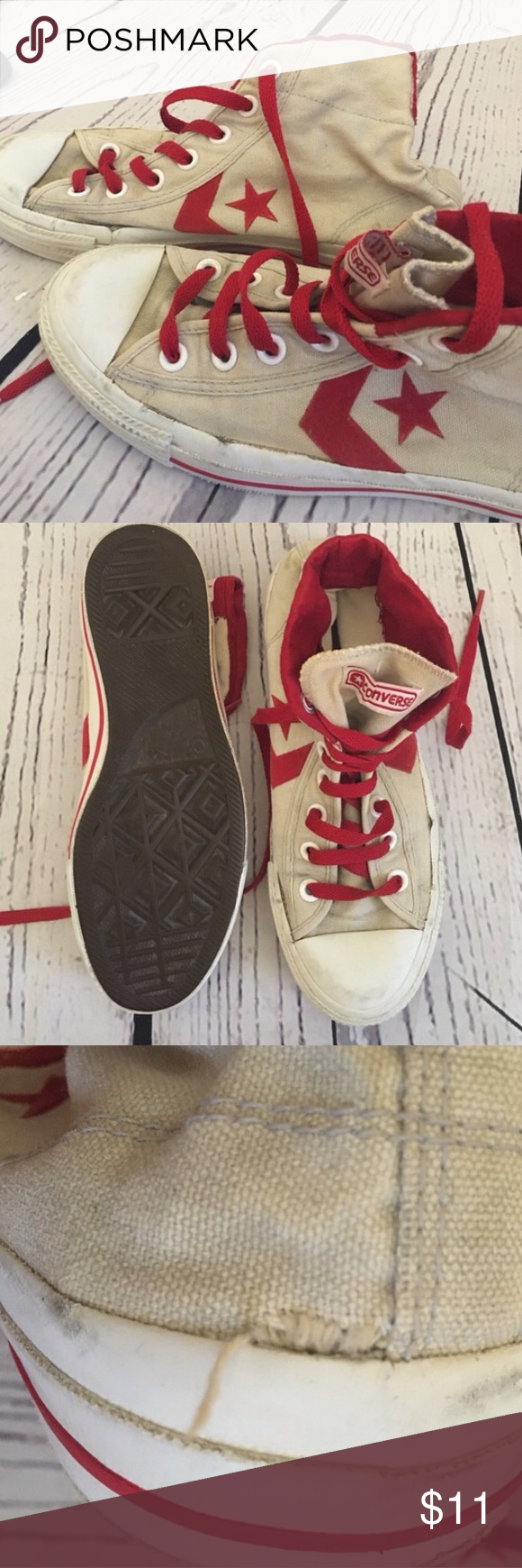 8b1e1876a4 Retro old school high top converse red laces These are definitely worn in