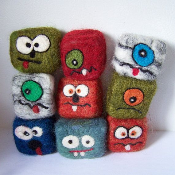 Felted soap monsters