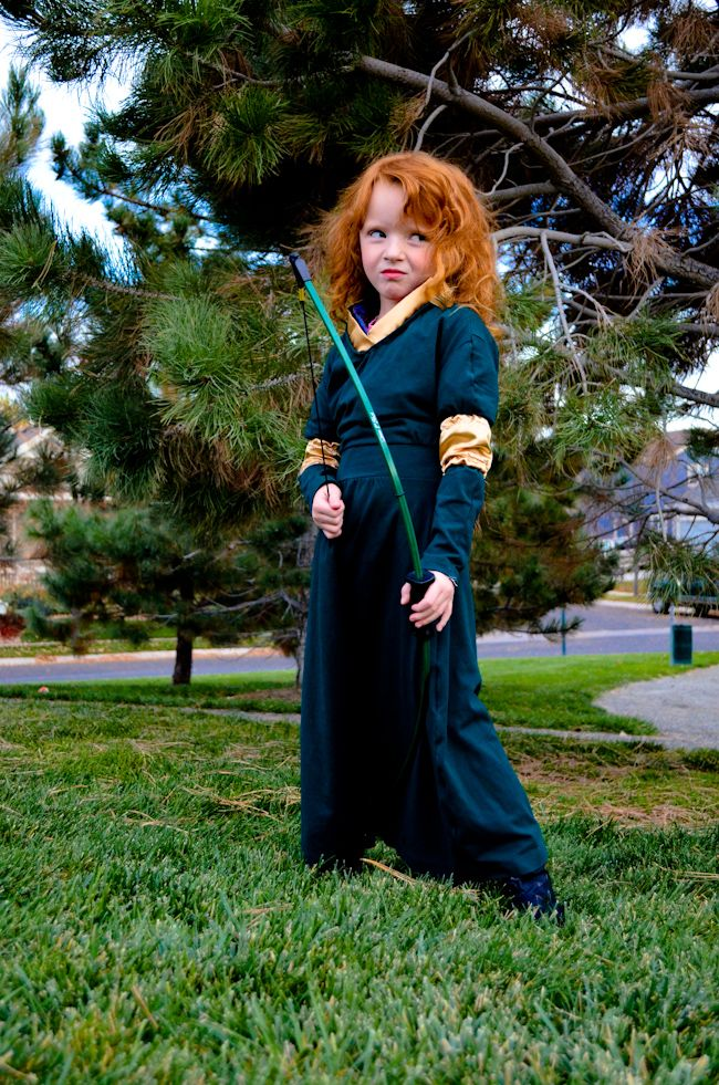 Brave Movie Merida Costume Cosplay Pixar Disney Princess Green Dress Gold Red Hair Redhead Wig Curly Litt Merida Costume Kids Merida Costume Halloween Costumes