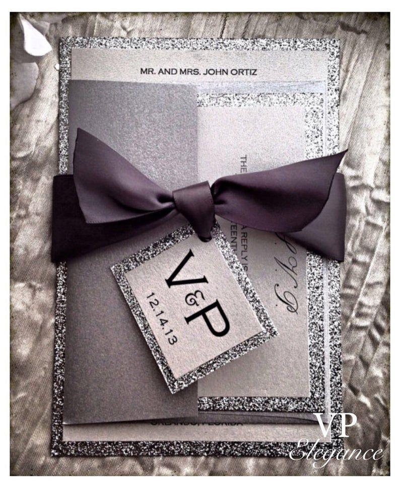 Sparkle Foil Silver Black Digital Glitter New Year S Eve Black Tie Wedd Glitter Wedding Invitations Letterpress Wedding Invitations Wedding Invitations
