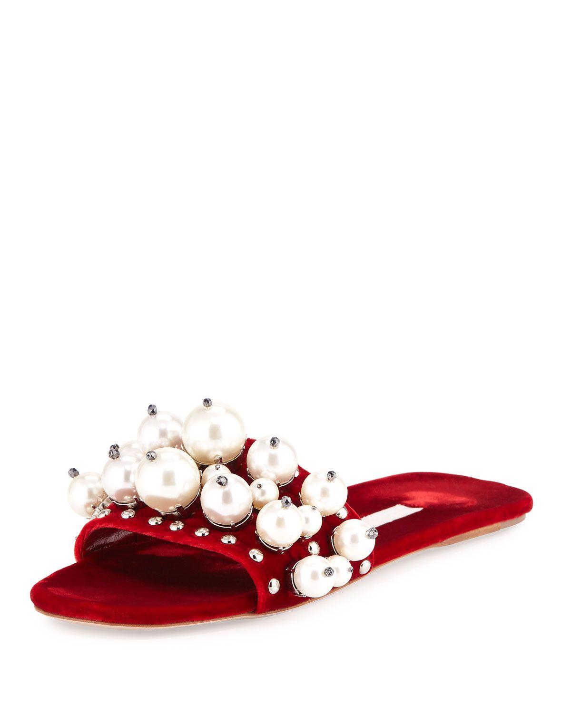 Embellished velvet slip-on sandals Miu Miu KJLIzE2