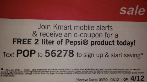 Free 2 Liter Pepsi Products From Kmart With Mobile Coupon Restaurant Coupons Pepsi Coupons
