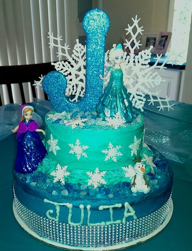 Frozen themed birthday cake with Elsa Anna and Olaf Disney