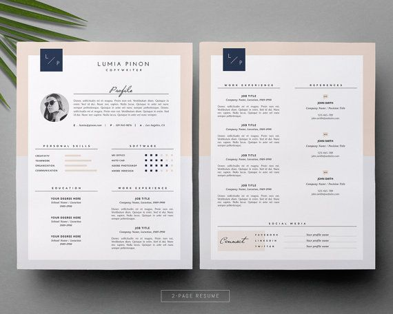Stylish Resume With Photo Modern Resume Design For Ms Word Etsy In 2020 Cover Letter For Resume Resume Template Cover Letter Template