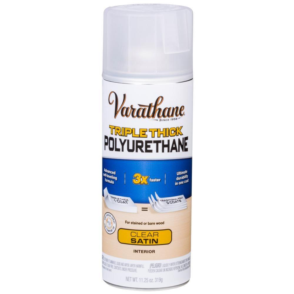 Varathane 11 Oz Clear Satin Triple Thick Polyurethane Spray 6 Pack 318286 Varathane Wood Tags Foam Paint Brush