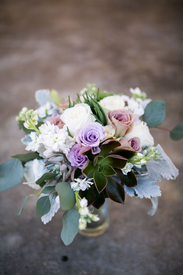 A Bridal Bouquet With Lavender Roses Succulents And Dusty Miller From Texas Wedding