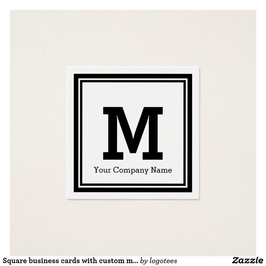 Square business cards with custom monogram logo   Monograms ...