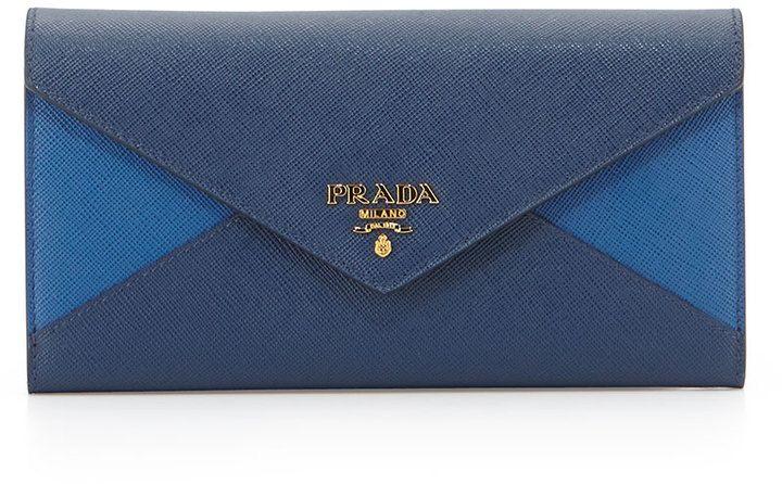 b9a6566c9843 Prada Colorblock Leather Continental Wallet, Blue/Cobalt (Bluette+Azuro)