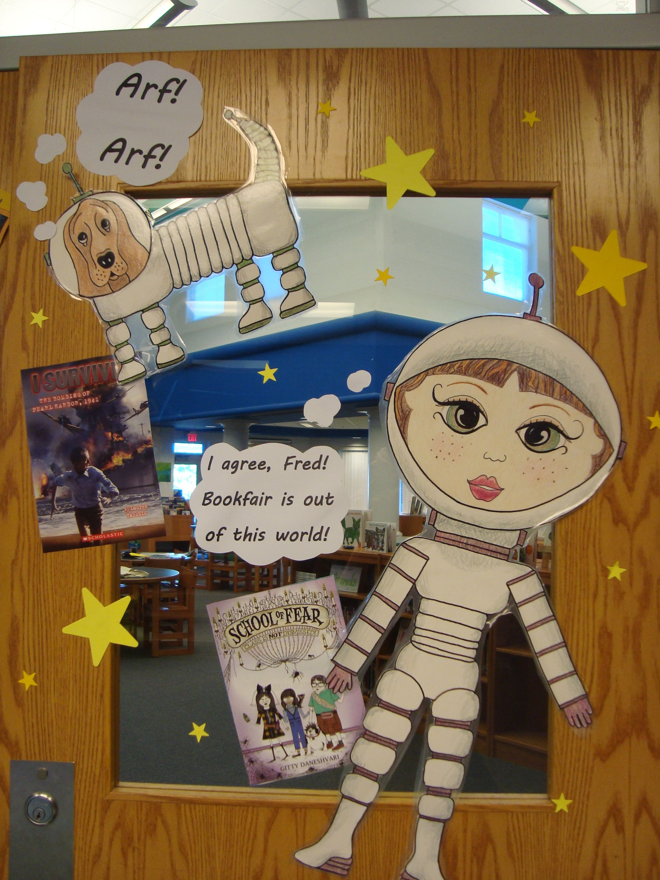 Book Fair Door Decorations Library Things Pinterest - Astronaut decorations