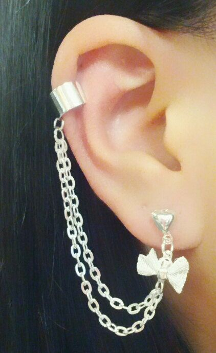 Bow Charm With Chains Cuff Cartilage Earrings By Simplyycharming 7 50 Cute