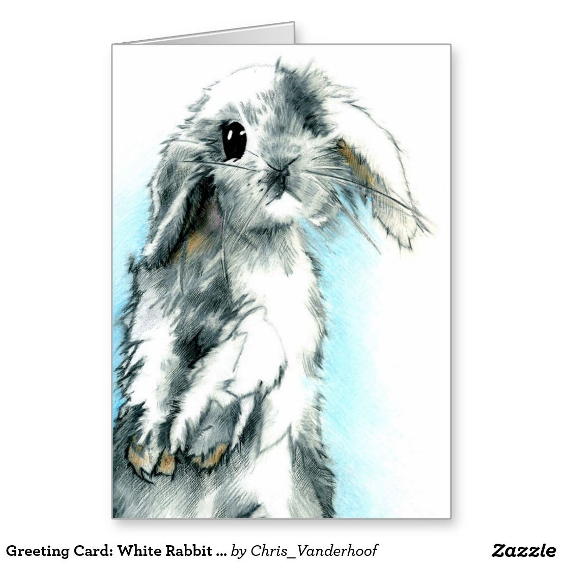 Greeting Card: White Rabbit Drawing Greeting Card