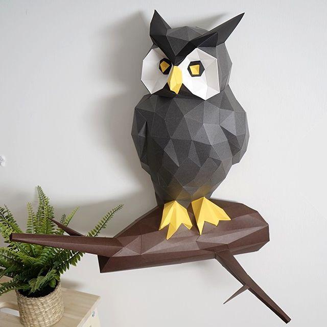 Owl trophy #owl #papercraftideas #ecogami #birddecor