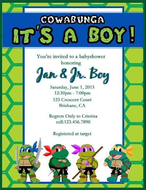 teenage mutant ninja turtle baby shower invitation (digital file, Baby shower invitations