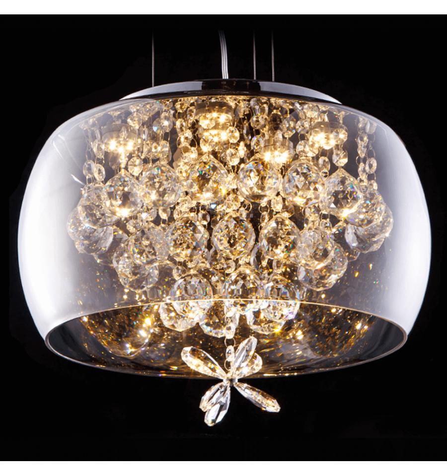 Suspension verre design LED et motifs cristal Victoria kitch mais