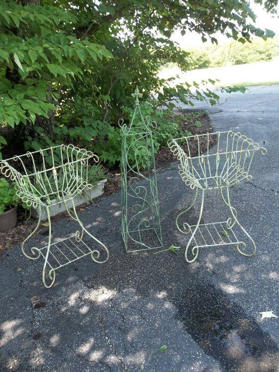 Vintage Garden Decor Wrought Iron Plant Stands Vintage Garden