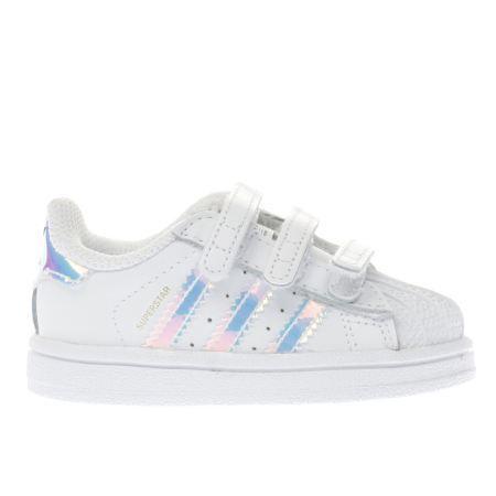 kids adidas white & silver superstar girls toddler