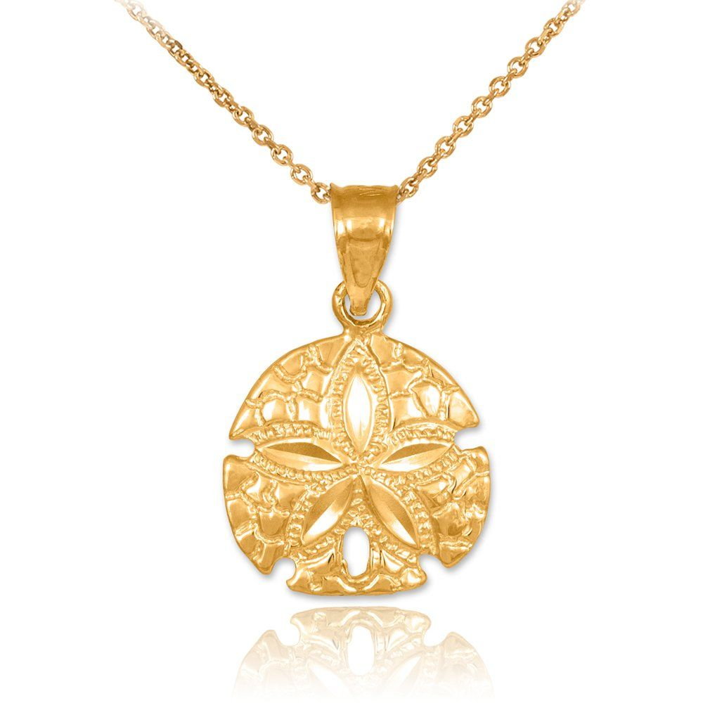 K yellow gold polished sea star charm sand dollar pendant necklace