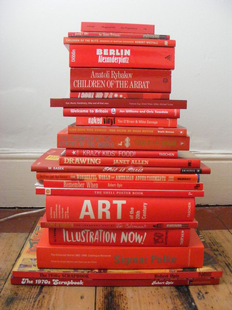 Book about color red - Thegirlandherbooks Red Book Stack By Allan Sanders
