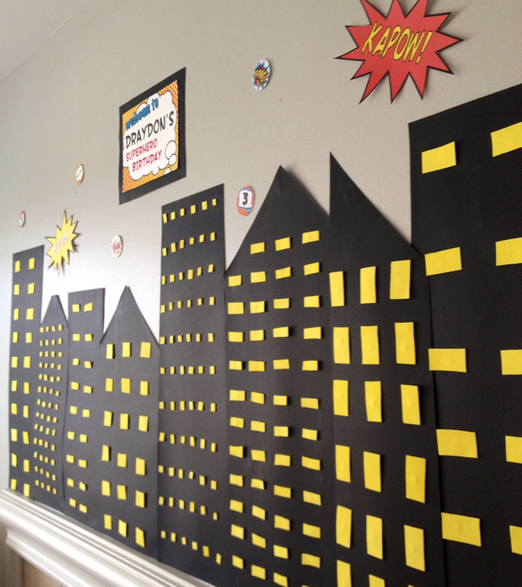 Backdrop superhero party printables batman background backdrop - Superhero Birthday Party Would Be Easy To Do On A Wall With Black Poster Board Superhero Backgroundsuperhero Backdropsuperhero