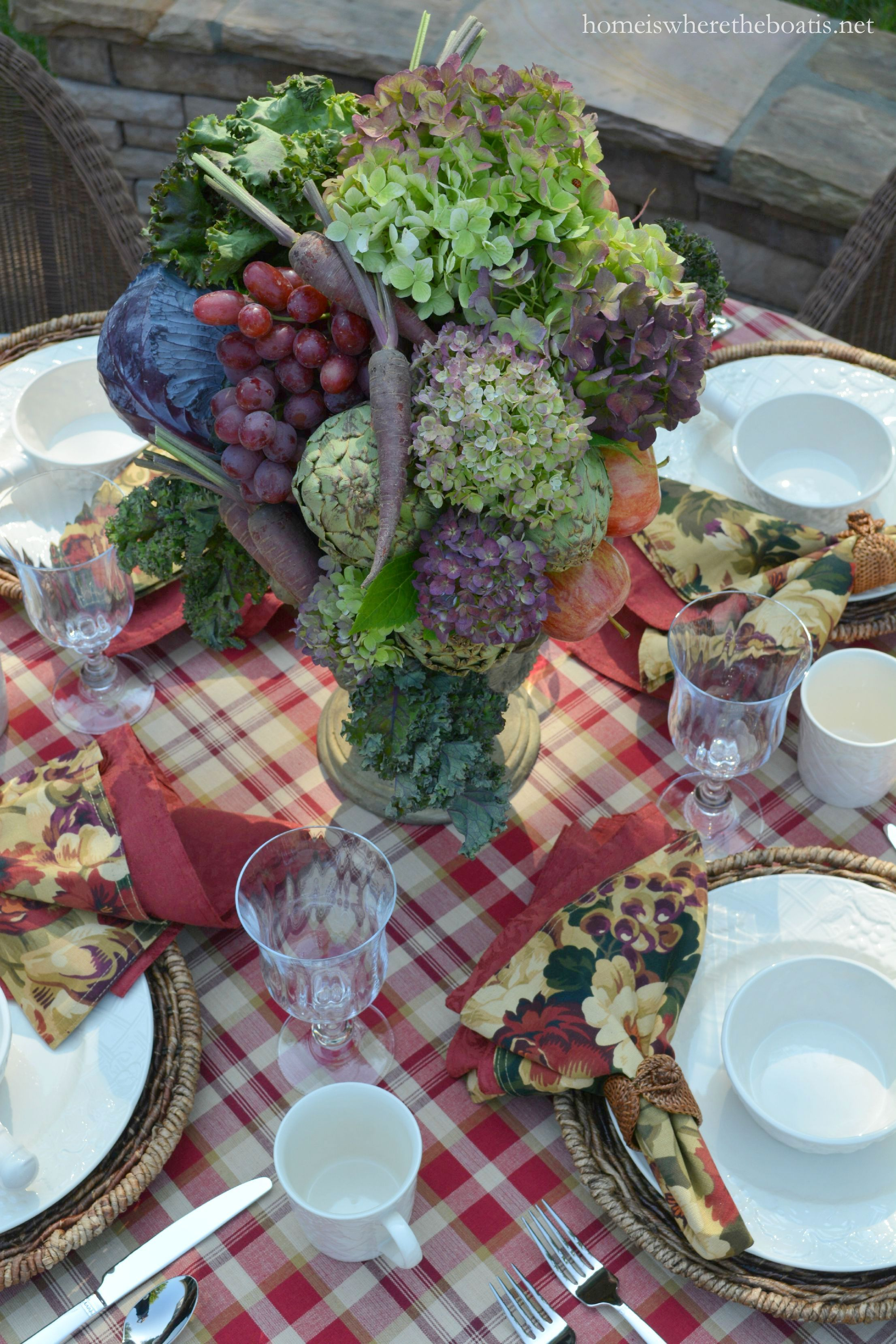 A Fruit and Vegetable Centerpiece and Mikasa English Countryside Dinnerware | 8/2015 homeiswheretheboatis.net #tablescape & A Fruit and Vegetable Centerpiece and Mikasa English Countryside ...