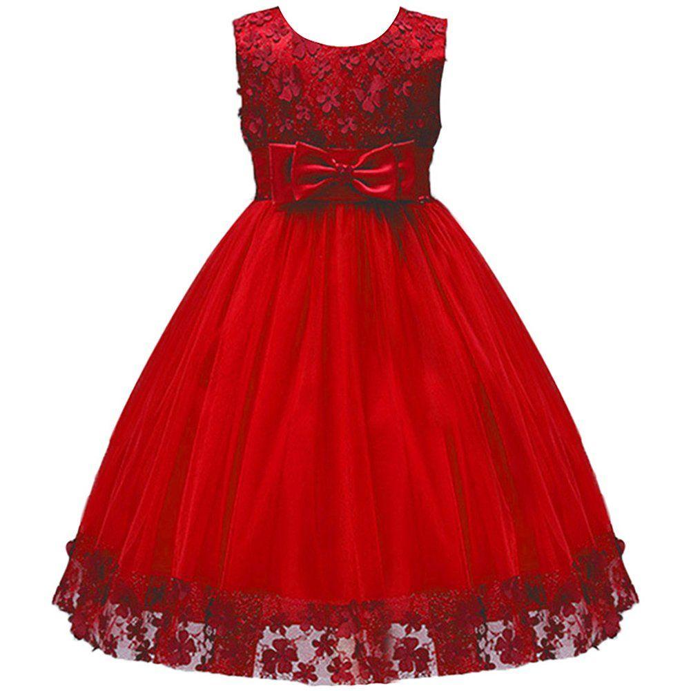 Ibtom Castle Big Little Girl Ball Gown Lace Flower Girl Dresses For Wedding Red 4t Kids Flower Girl Dresses For Baby Toddler C Elbise Modelleri Elbise Kiyafet [ 1001 x 1001 Pixel ]