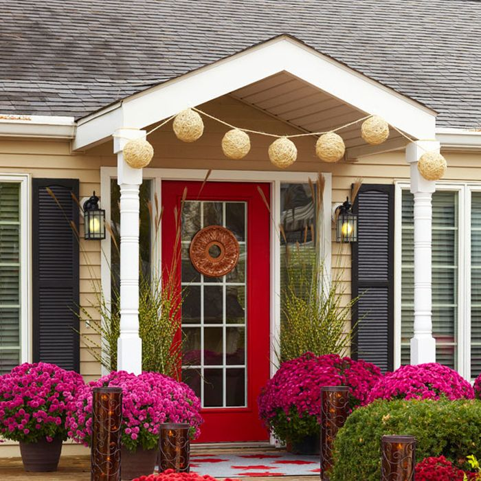 Fall Front Porch with Twine Ornaments