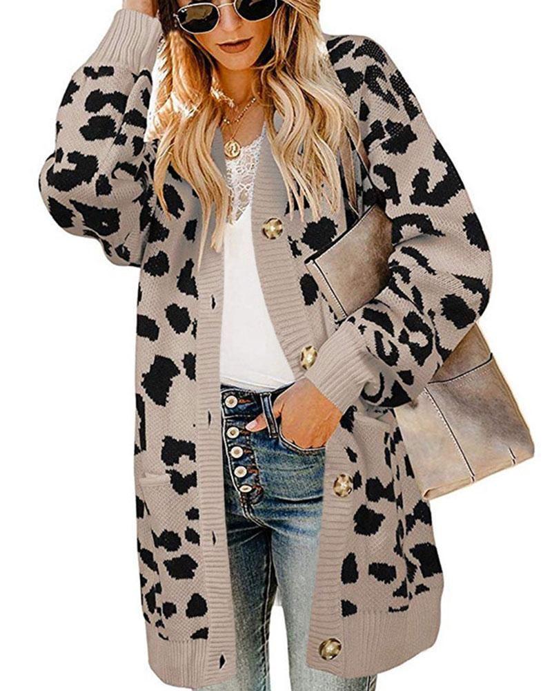 Exlura Lantern Sleeve Button Leopard Print Cheetah Cardigan