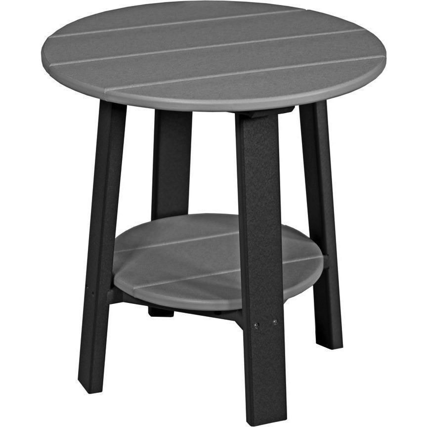Dove Gray and Slate Poly Lumber Outdoor Deluxe End Table Recycled Plastic