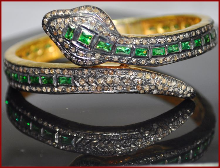 """Viper"" Price: $960 or P42,240    Snake! 21.00ct ROSE CUT DIAMOND EMERALD VICTORIAN BRACELET ♥     Signature Victorian Collection....known for its international taste and appeal!    Imported, world-class quality, not pre-owned, not pawned, not stolen. WE DELIVER WORLDWIDE ♥"