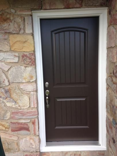 Masonite 32 In X 80 In Cheyenne 2 Panel Right Hand Inswing Painted Smooth Fiberglass Prehung Front Exterior Door No Brickmold 23065 The Home Depot Painted Front Doors House Exterior Blue Exterior Doors
