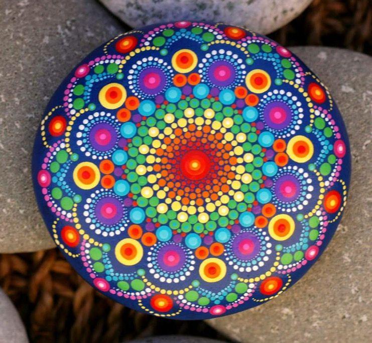 Dotart Mandala Steen With Images Mandala Painted Rocks Dot Art Painting Mandala Painting