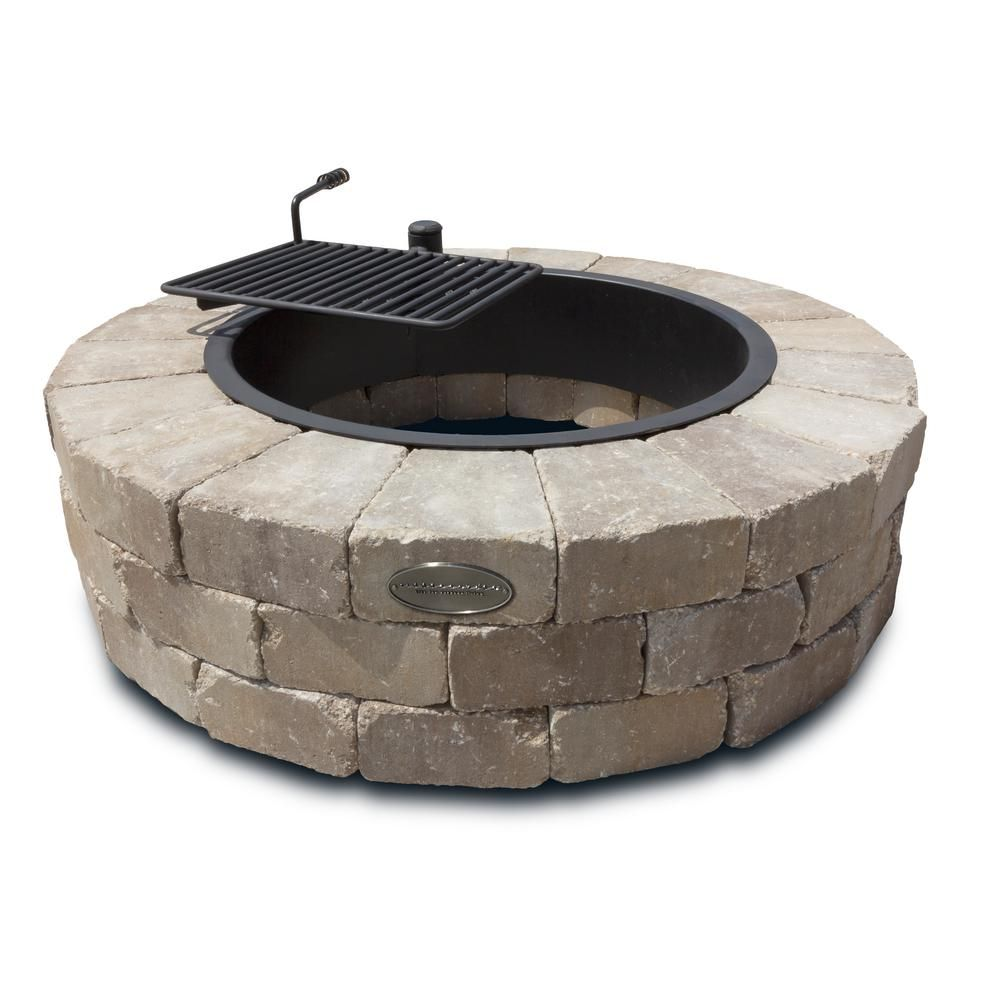 Necessories Grand 48 In Fire Pit Kit In Santa Fe With Cooking Grate Concrete Fire Pits Fire Pit With Cooking Grate Square Fire Pit