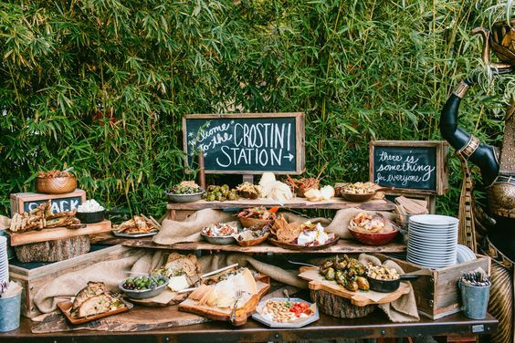 Top 30 Wedding Food Bars You\'ll Love | Pinterest | Rustic outdoor ...