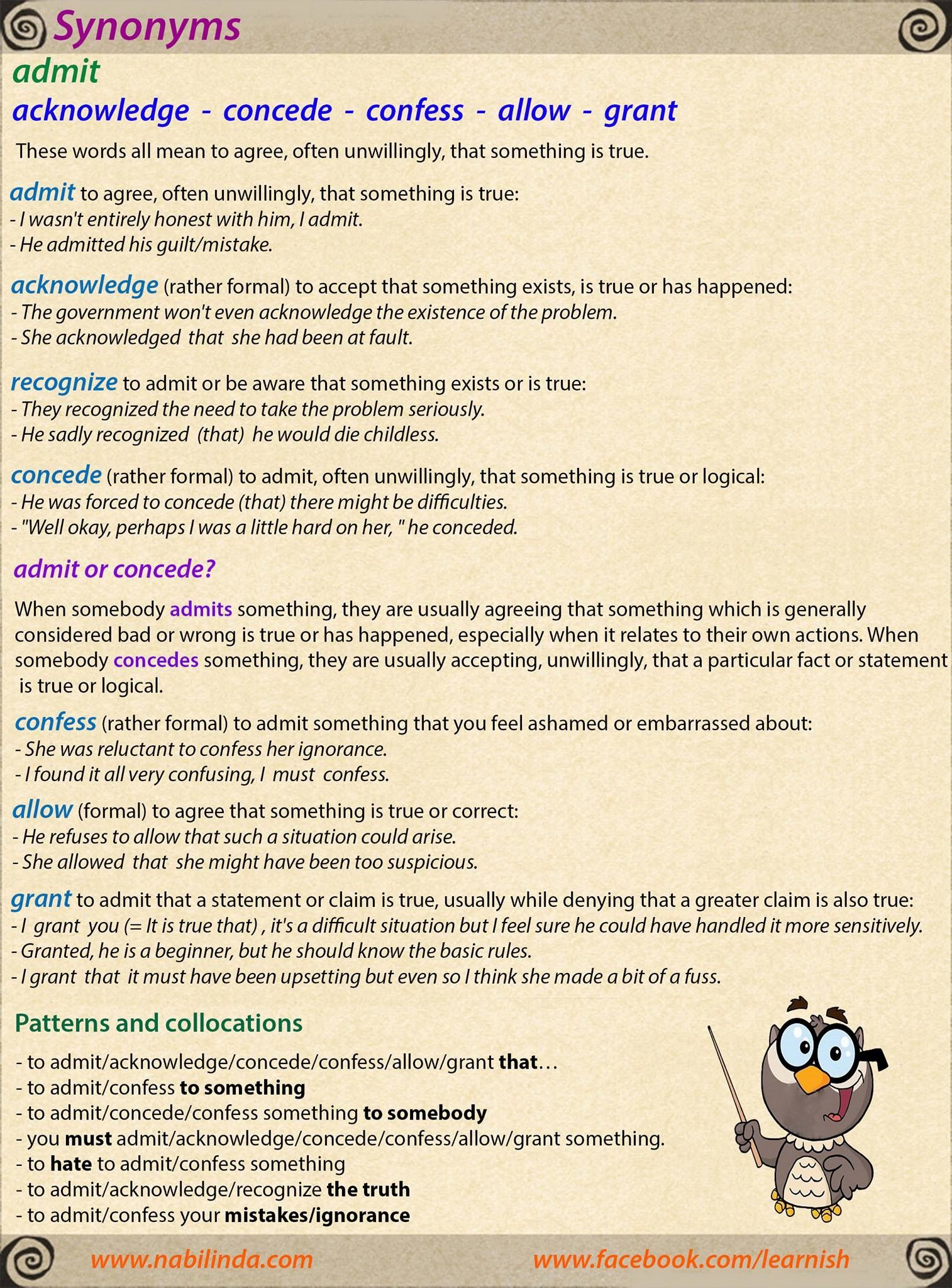Synonyms: admit - acknowledge - concede - confess - allow - grant   English grammar ...